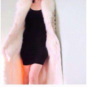 Bebe White Fur Suede Maxi Coat